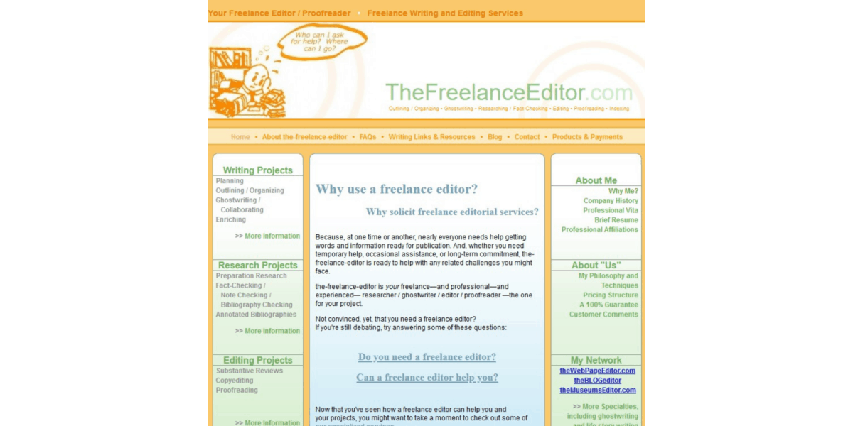 This was part of the-freelance-editor home page from sometime in 2006 to about 2012.