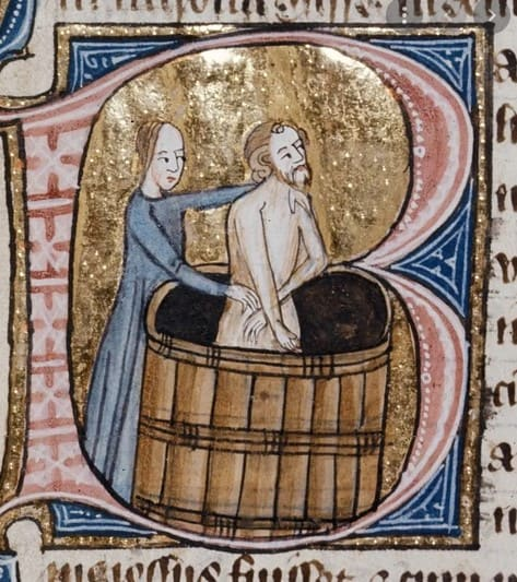 """via Medievalists.net; used as artwork (uncredited, to the best of my knowledge) for a blog post titled """"Did people in the Middle Ages take baths?"""""""